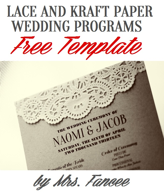 Wedding Program Template  Mrs Fancee