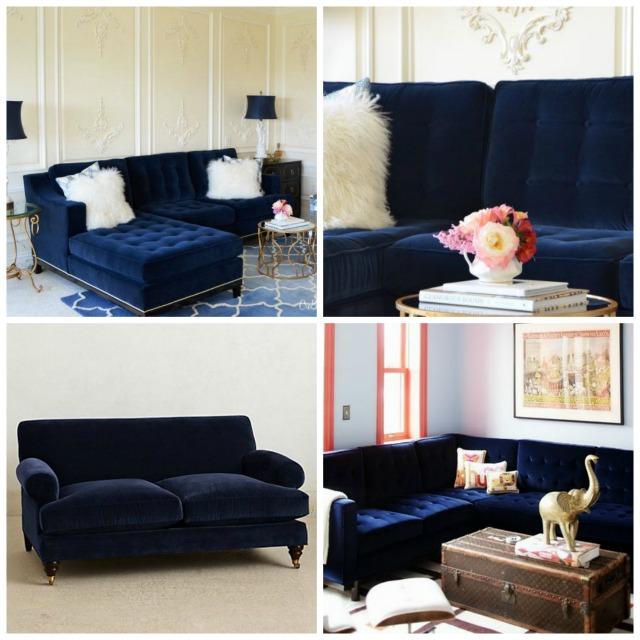 Navy Blue Velvet Sectional Sofa Okaycreationsnet